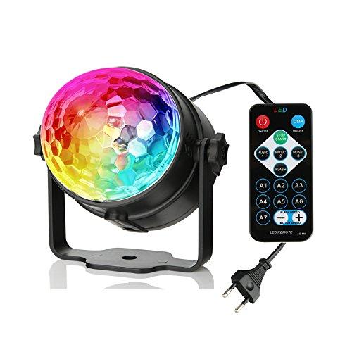 [Neueste Version] Discokugel partylicht, 3W 7 Farben RGB Musik Steuerung LED Partybeleuchtung Discolicht Bühnenbeleuchtung, für Indoor Party Lichteffekte wie Weihnachten Geburtstag Urlaub Hochzeitsfei