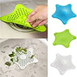 RIANZ Starfish Hair Catcher Rubber Bath Sink Strainer Shower Drain Cover Trap Basin (Assorted Colors)