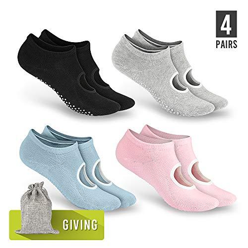 Tusscle Yoga Socken für Damen rutschfest, Ideal für Yoga Pilates, Ballett,Tanz,Barre,Fitness, Barfuß-Training, Trampolin 【2-4 Paar,35-41】