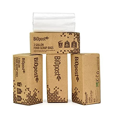 Strong Compostable Bags 10 Litre Certified Biodegradable Kitchen Scrap Trash Food Waste (Pack of