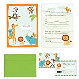 Edition Colibri - Set di 24 biglietti d'invito per compleanno bambini, con scritta in lingua tedesca e buste colorate