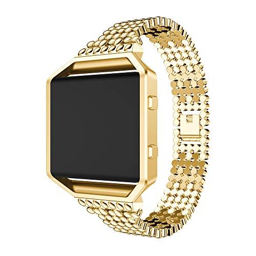 Omiky® Luxus Uhrenarmband mit Metallrahmen für Fitbit Blaze Justierbares Ersatz Bügel Armband Ersatzarmband (Gold) - Fitbit-armband Faltschließe