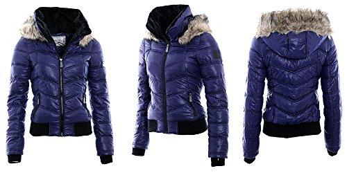 ZEARO Damen Winter Jacke Steppjacke kapuzenjacke Kunst-Fellkapuze Bomberjacke Violett / Lila