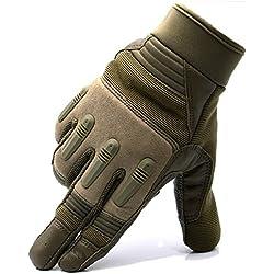 FRETOD Piel Sport Guantes de Hombre, con La Función de Pantalla Táctil, Ajustable para Actividades al Aire Libre Moto Beasball (Camello, L)