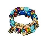 Paolian Femmes Bohême Bracelet Pierres colorées Perlé Wristband Mode Bijoux Cadeau idéal pour l'anniversaire (Multi)