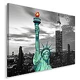 Feeby Frames, Leinwandbild, Bilder, Wand Bild, Wandbilder, Kunstdruck 60x80cm, NEW YORK, FREIHEITSSTATUE, SCHWARZ UND WEIß