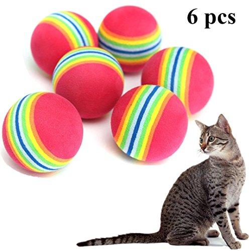 Cosanter Spielzeug Ball für Katzen Regenbogenball,Runden,6 Stück/Set