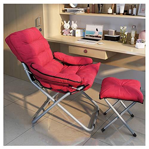 Gartenstuhl Klappstuhl Lazy Chair Solide Sicherheit Leichter und tragbarer Student Schlafsaal Schlafzimmer Apartment Stuhl (Color : Red)