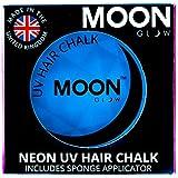 Moon Glow - Tiza para cabello UV de neón3.5g Azul-produce un brillo increíble bajo la iluminación/retroiluminación UV!
