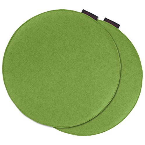 AVARO Stuhlkissen Filzimitat 2´er-Set rund Ø ca. 35cm (grün)