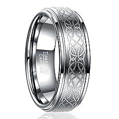 Idea Regalo - Nuncad Anello da Donna/Uomo in Argento tungsteno 8mm con Motivo Celtico per Matrimonio, Fidanzamento, Anniversario, Taglia 54 (14)