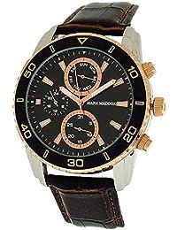 Multifunción de la marca Maddox caballeros esfera de color negro y marrón correa de PU reloj de pulsera para mujer HC6006-47