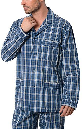 El Búho Nocturno - Herren Karierter Zweiteiliger Pyjama mit Langen Ärmeln | Schlafanzug, Klassische Nachtwäsche für Männer - Popelinestoff, 100% Baumw. - Größe M - Grau, Marineblau und Weiß (Herren Popeline Hosen)