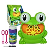 Kobwa Bubble Machine, durevole automatico rana Bubble Maker Machine, oltre 500bolle al minuto, non tossico Bubble Blower giocattoli per bambini con due Bubble Wands regali e Bubble Solution