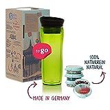 Shuyao Starter Set Tea to Go Thermobecher grün (360ml) mit Integriertem Teesieb + 3X Loser Tee 9g
