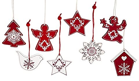 8x Deko Anhänger zum Hängen, Holz rot weiß, 6cm, Weihnachtsdeko Baumschmuck Weihnachtsbaumanhänger Holz-Hänger für Weihnachten
