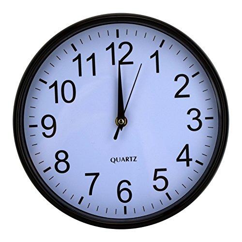 Wanduhr Wohnzimmeruhr Küchenuhr Glaswanduhr Glasuhr Ø25cm Quarzuhr Uhr Schwarz