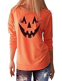 816da96b9320 Amlaiworld Fröhliches Halloween Orange Locker Sweatshirt Damen mit Aufdruck  Schläger Kürbis Pullover Warm Weich Herbst Winter Pulli…