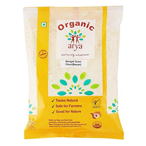 Arya Farm 100% Certified Organic Besan (Bengal Gram Flour), 500g (Chana Dal Flour/No Chemicals/No Pesticides/No Added Preservatives)
