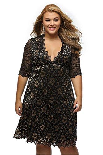 ILFtrend V-Ausschnitt Große Größen Spitze Elegante Halbarm Partykleider Cocktail Kleid Golden (XL)