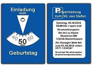 Parkscheibe Als Einladungskarten Geburtstag Einladungen Witzig Lustig  Geburtstagseinladungen   70 Stück