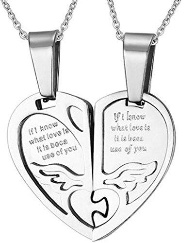 Gnzoe 2 Pcs Herren Damen Halskette Ketten Set Edelstahl Engel Herz Puzzle Anhänger Schmetterling Kette Paare Silber 27.6x25MM