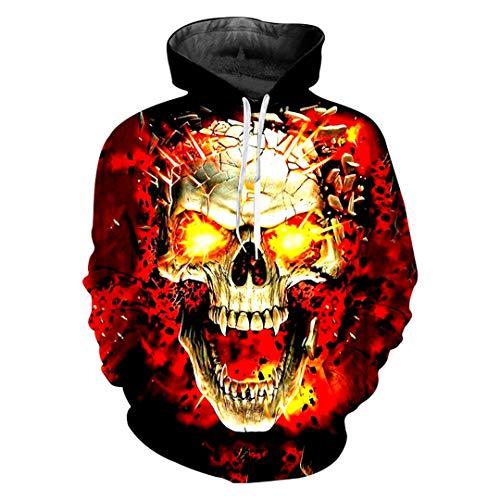 Assassin Kostüm Dark - Pokem&Hent Männer Lange 3D Gedruckt Flamme Schädel Lässige Größe Kostüm Sweatshirts Dark Grey XL