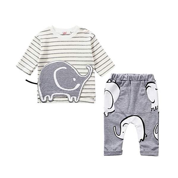 LZH Toddler Baby Boys 2Pcs Conjunto de Ropa de Manga Larga con Estampado de Elefante Tops para bebés Pantalones Trajes… 1