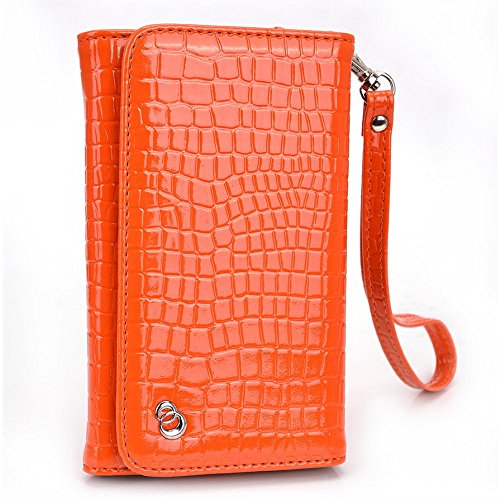 Kroo Croco Dragonne Étui portefeuille universel pour smartphone Lava Iris x1/470Mobile Orange - orange Orange - orange