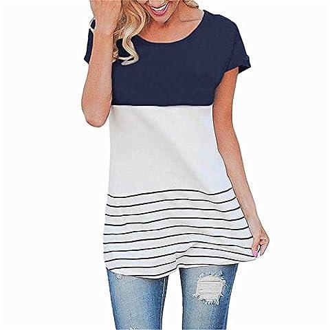 CYBERRY.M T-shirt Été Femme Casual Manches Courtes Rayé Plage Longues Robe de Chambre Tee Blouse (XL, Bleu foncé)