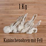 1 Kg ca. 80 Stück Kaninchenohren mit Fell fettarm BARF wie Schweineohren...