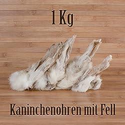 1-Kg-ca-80-Stck-Kaninchenohren-mit-Fell-fettarm-BARF-wie-Schweineohren-Rinderohren-Kausnack-Kauartikel