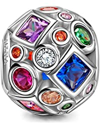NINAQUEEN Women Bead Charms Colorful Summer Rainbow 925 Sterling Silver Suitable for Bracelet and Necklace, Christmas Gifts, Come with a Gift Packaging, Nickel-free, Passed SGS