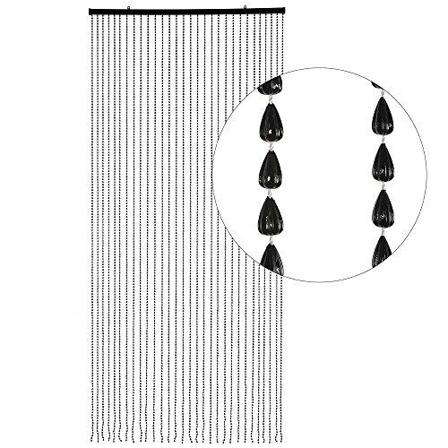 HAB & GUT -DV0264- Türvorhang Tropfen, SCHWARZ, 90 x 200 cm Perlenvorhang Pailettenvorhang