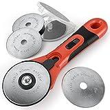 ARTEZA® Rollschneider — 60 mm Rollmesser — Stoffschneider für Quilten und Wattieren mit 6 Hochwertigen Ersatzklingen