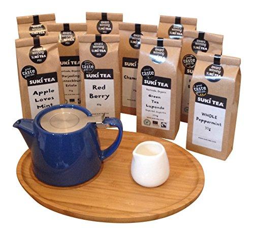blue-forlife-18oz-stump-loose-leaf-teapot-with-bamboo-tray-creamer-suki-tea-80g-apple-loves-mint