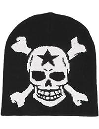 Unisexe en tricot Bonnet extensible motif tête de mort Casquette Noir/blanc