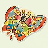 DIDA - Kinderwanduhr - Holz - Dekoration: Schmetterling, geeignet für Das Kinderzimmer.