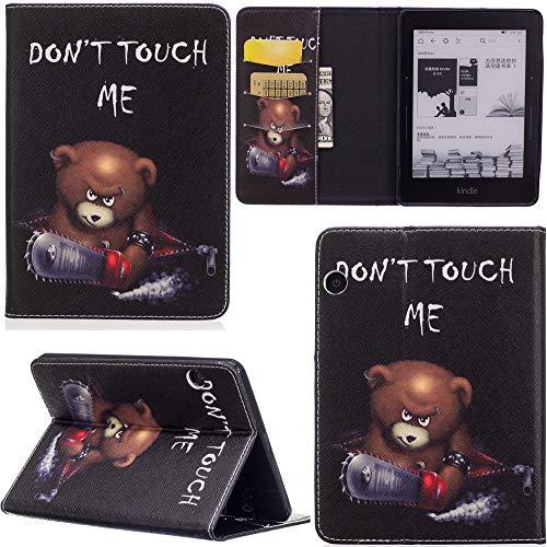 ge Hülle PU Leder Tasche Schutzhülle Cover Case Wallet Brieftasche Stand für Kindle Voyage - Bär ()