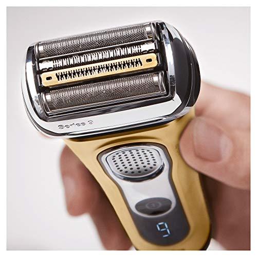 Braun Series 9 9299cc Elektrorasierer Herren, Wet&Dry-Funktion, mit Reinigungs- und Ladestation, inkl. Reise-Etui, Geschenkedition in gold