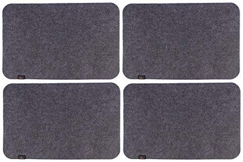 Luxflair Edle Filz Platzmatten für 4 Personen in dunkelgrau (+weitere Farben). XXL Tischset ca. 30x45cm groß, waschbar. Moderne Designer Filz Tischmatten