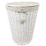 JVL Hearts Wicker Round Laundry Basket with Lid and Lining, Beige/White