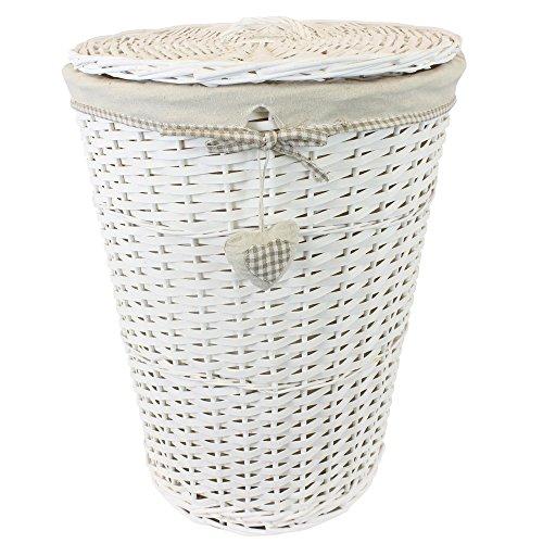 Jvl - cesto rotondo foderato con coperchio di vimini per biancheria, motivo: cuori, colore: beige