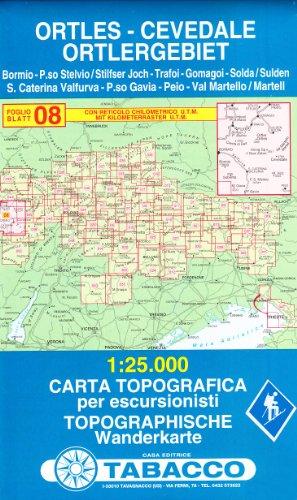 Ortlergebiet: Wanderkarte Tabacco 08. 1:25000 (Cartes Topograh)