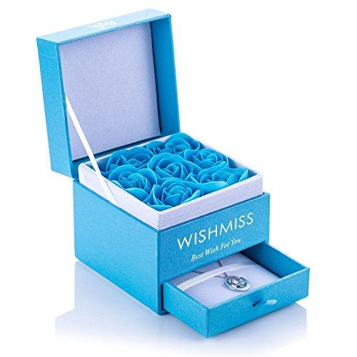Frauen Sterling Silber Halskette in blauer Schmuckschatulle und 7 blaue Rosen Badebomben Geschenkset- WISHMISS