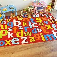Superb Kids/Childs Rug Red Multi Coloured Large Alphabet Educational 100cm x 200cm (3
