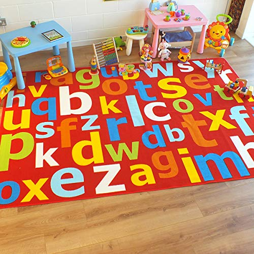 The Good Rug Company Superb Kids/Kinder Teppich Rot Multi farbige Große Alphabet Educational, rot, 1m x 2m (3'3 x 6'6 Approx)