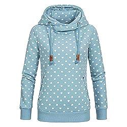 Lulupi Damen Kapuzenpullover Lang Hoodie, Sweatshirt Frauen Stehkragen Pullover mit Kapuze Herbst Winter Mantel Slim Fit Hoody High Neck Outwear Gr 36-50