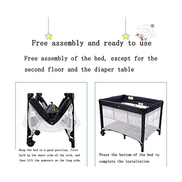 Mr.LQ Multi-Functional Crib, Foldable Crib, Safe And Environmentally Friendly, With Roller,Gray  ★[Crib material]: The crib does not contain paint, does not contain formaldehyde, has no harmful substances to the baby, and gives the baby a comfortable sleeping environment; the overall quality of the high-quality TD fabric is soft and comfortable;the corner is made of environmentally-friendly plastic material. ★It is non-toxic and will not harm your baby. The bracket is made of high-quality alloy material, which is durable and light. ★[Folding Crib] The folding crib is designed to be carried around, carry it around, carry it with you, and fold or unfold it in a matter of time. 6