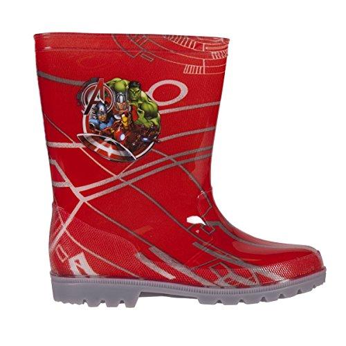 Marvel The Avengers Wasserdichte Gummistiefel Schuhe in Rot Junior Größen 9-2 UK Kind für Kleinkinder / Kinder mit LED Blinklicht, Rot - rot - Größe: 33 EU (Captain America-spiele F)